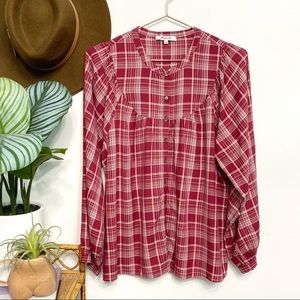 madewell   balloon sleeve peasant top red plaid s